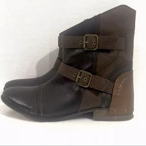 Naughty Monkey Brown Leather Moto Ankle boots 8.5